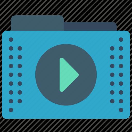 files, folder, folders, media, play icon