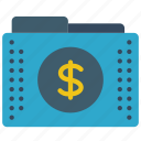 dollar, fees, files, finance, folder, folders, money icon