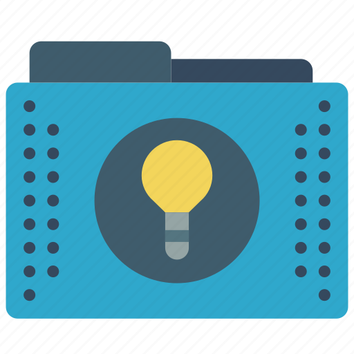 bulb, files, folder, folders, ideas, lightbulb icon