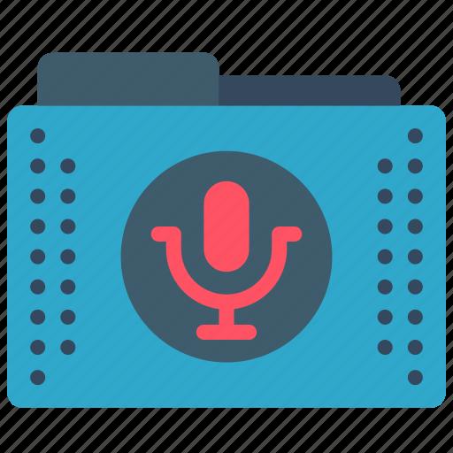 audio, files, folder, folders, mic, recodings, sound icon