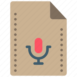 audio, file, files, folders, mic, recording icon
