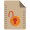 file, files, folders, padlock, unlock icon