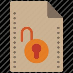 file, files, folders, padlock, unlock icon