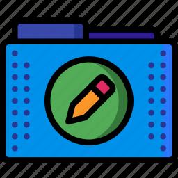 and, config, edit, folder, folders, pen, pencil icon
