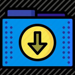arrow, down, download, files, folder, folders icon