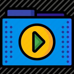 files, films, folder, folders, media, move, play icon