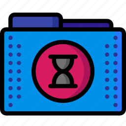 busy, files, folders, schedule, time, timed, wait icon