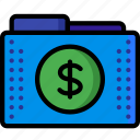 currency, dollar, files, finance, folder, folders, money icon
