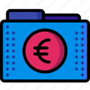 currency, euro, fees, files, finance, folder, folders icon