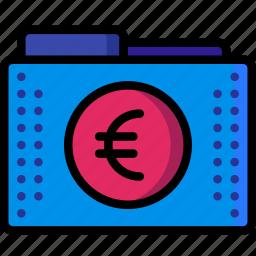 currency, euro, fees, files, finance, folder, folders icon