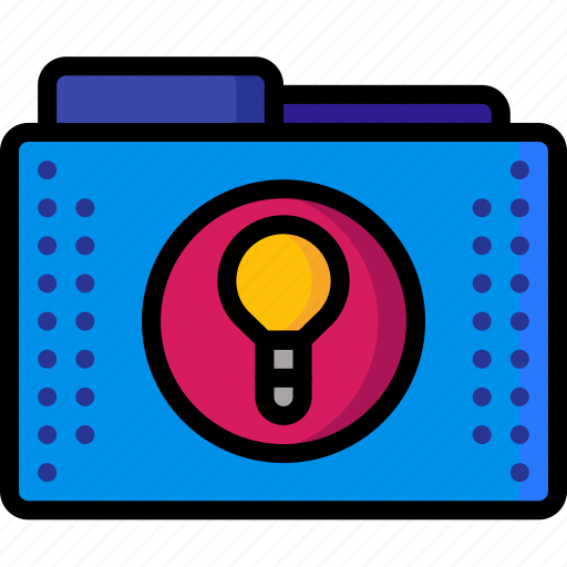 bulb, files, folder, folders, ideas, light, lightbulb icon