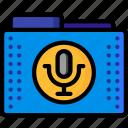 audio, files, folder, folders, recodings, sound, wave icon