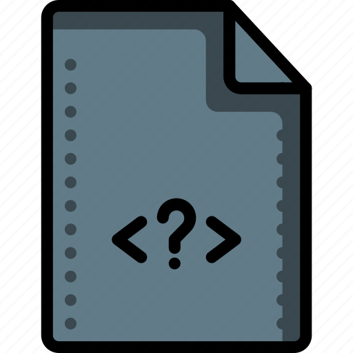 code, files, folders, php, question, script, tag icon