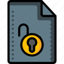 access, file, files, folders, padlock, unlock icon