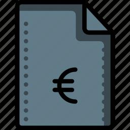 euro, fees, files, finance, folders, money, ultra icon