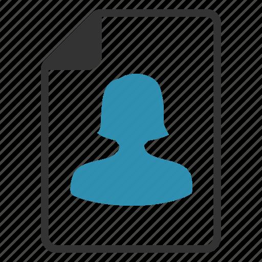 account, cv, document, female, profile, user icon