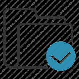 accept, checkmark, complete, folder icon