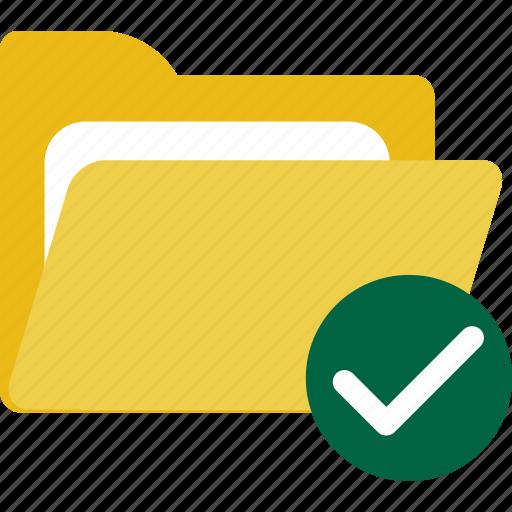 files, folder, full, success, tick icon