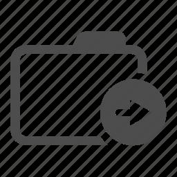 archive, arrow, back, folder, move, right icon