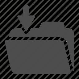 archive, arrow, down, folder, in, open icon