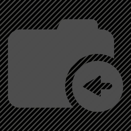 archive, arrow, folder, left, move icon