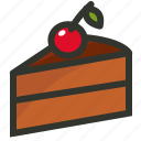 cake slice, cherry cake, dessert icon