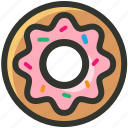 bake, bakery, dipped donut, donut, doughnut, food, iced donut icon