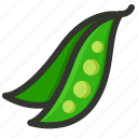 bean, food, healthy, pea pod, peas, sweet pea, vegetable icon