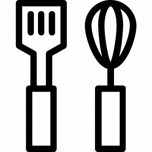 cutlery, kitchen, spatula, utensils, whisk icon