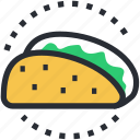 food, mexican dish, snack, tacos, tortilla tacos icon
