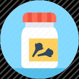 bottle, cloves jar, grocery ingredient, ground cloves, spice icon
