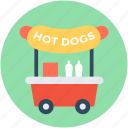 hot dogs cart, hot dog wagon, vending cart, hot dog stand, hot dog vending