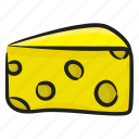 cheese, cheese piece, cheese slice, dairy product, food item icon