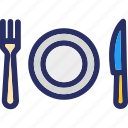 cutlery, fork, knife, plate