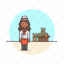 bakery, chef, food, bread, woman, baguette, basket, loaf icon