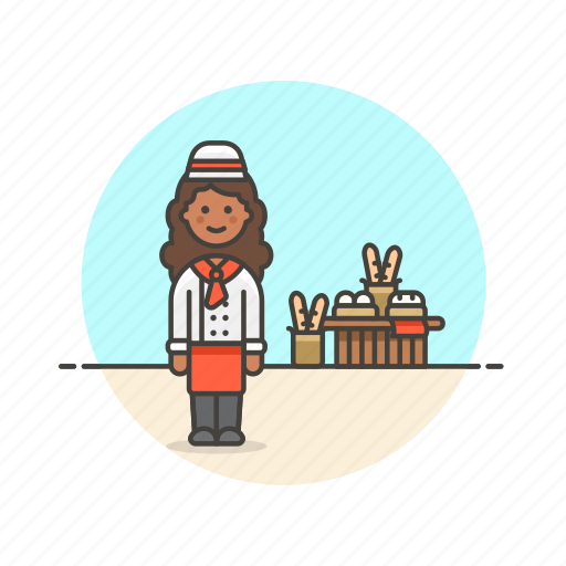 baguette, bakery, basket, bread, chef, food, loaf, woman icon