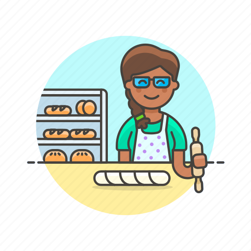 baguette, bake, bakery, chef, food, loaf, oven, woman icon