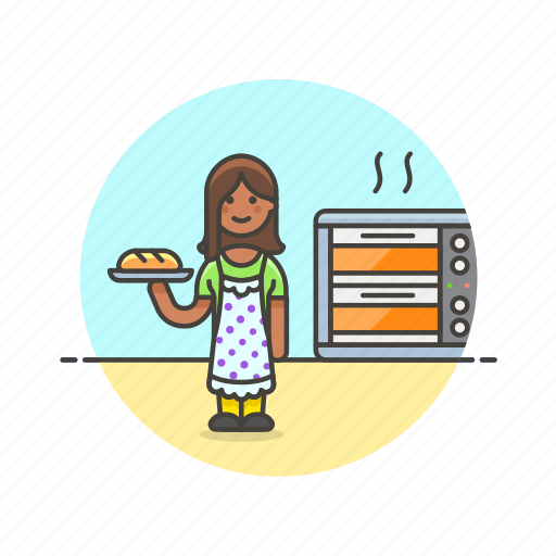 bake, bakery, bread, chef, food, loaf, oven, woman icon