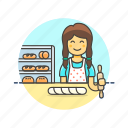 bakery, chef, food, bread, woman, baguette, bake icon