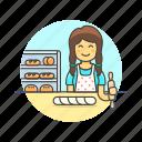 bakery, chef, food, bread, woman, baguette, bake