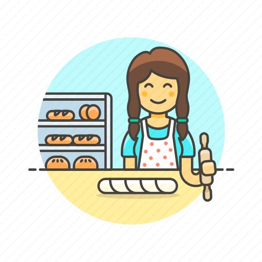 baguette, bake, bakery, bread, chef, food, woman icon