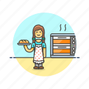 bake, bakery, bread, chef, food, loaf, woman icon