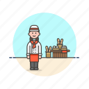 bakery, chef, food, bread, woman, basket, loaf icon