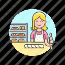 bakery, baking, bread, caucasian, chef, female, food, woman icon