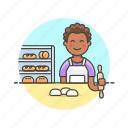 bakery, bread, chef, food, loaf, man, oven icon