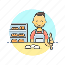 bake, bakery, bread, bun, chef, food, man icon