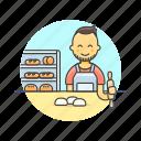 bakery, chef, food, bread, man, bun, bake