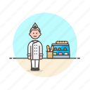 bakery, chef, food, bread, man, basket, loaf, shop icon