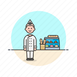 bakery, basket, bread, chef, food, loaf, man, shop icon