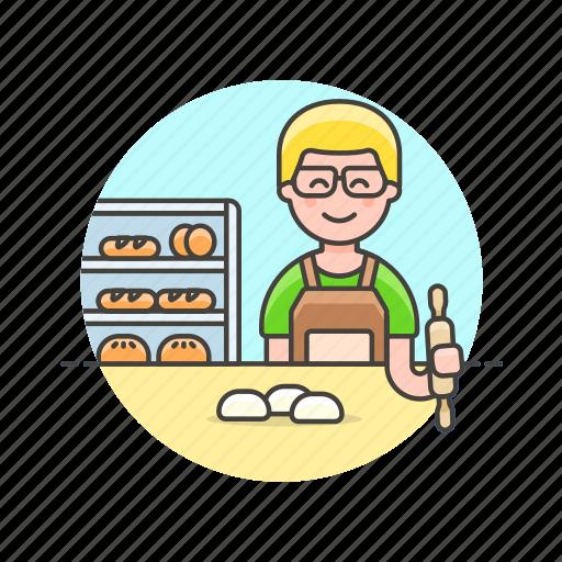 bake, bakery, bread, bun, chef, food, man, oven icon